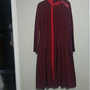 BETTIE PAGE by TATYANA Striped Long Sleeve Dress